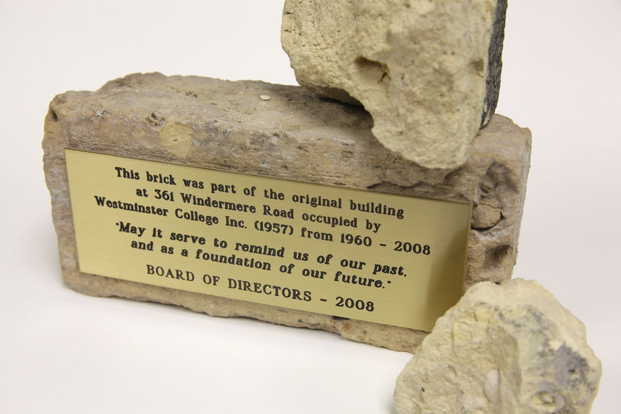 Original Westminster College brick. A photo.